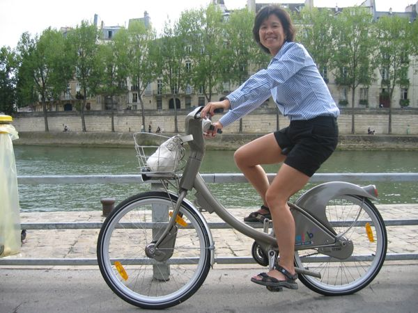 On a Velib, Paris, France.
