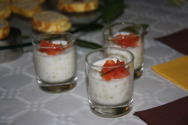 Cucumber and Smoked Salmon in a yogurt sauce
