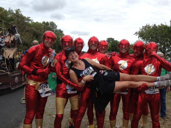 With some other runners during the Marathon du Medoc, France.