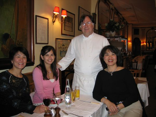 The chef with Ashlyn, my sister Catherine and me at Chez Georges, Paris France.