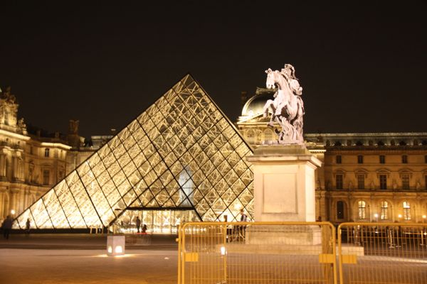 Louvre at night, Paris, France.