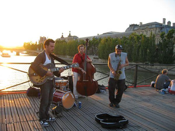 Musicians on the Pont des Arts, Paris, France.