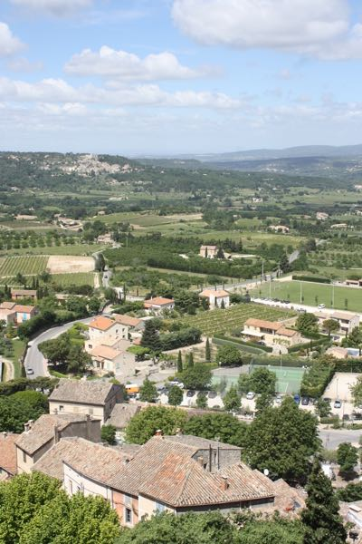 View from Bonnieux France. Lacoste in background.