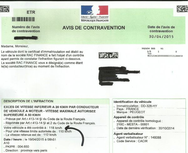 Speeding Traffic Ticket France