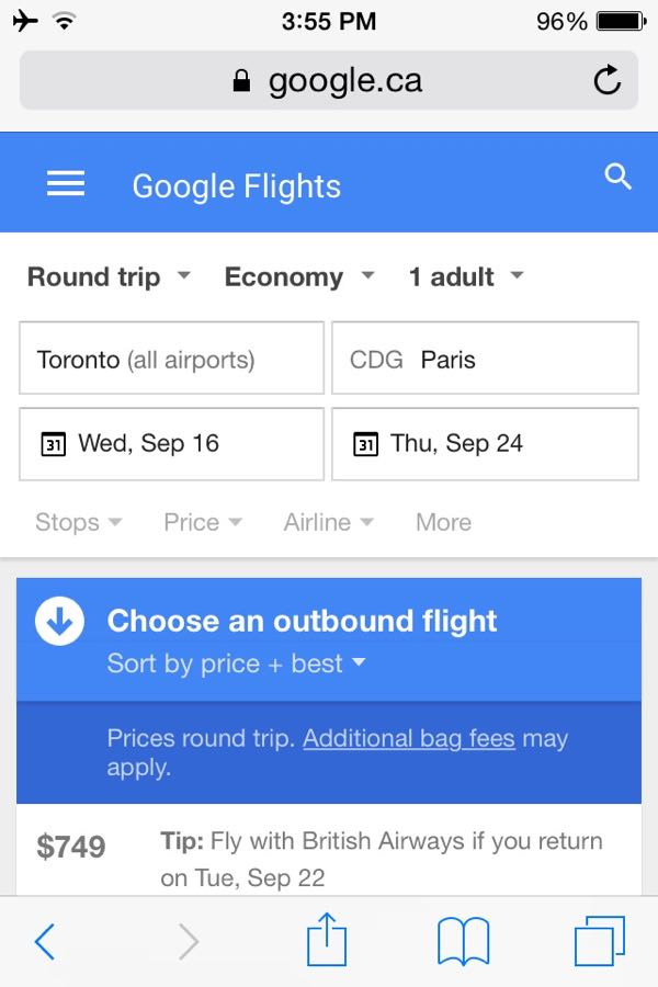 Google Flights Your Dollar Not Your Budget