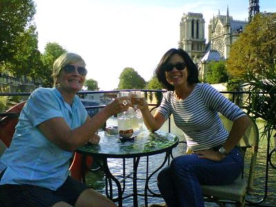 Laurie and Jan on barge in Paris, France.