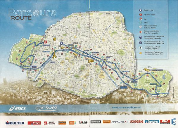 Paris Marathon Route