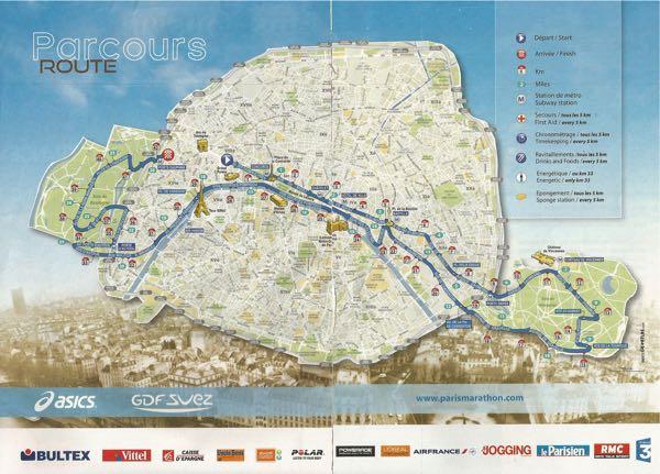 Paris Marathon Route