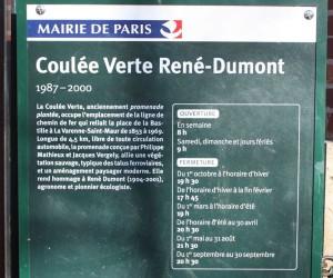 Promenade Plantée: Coulée Verte René-Dumont Sign