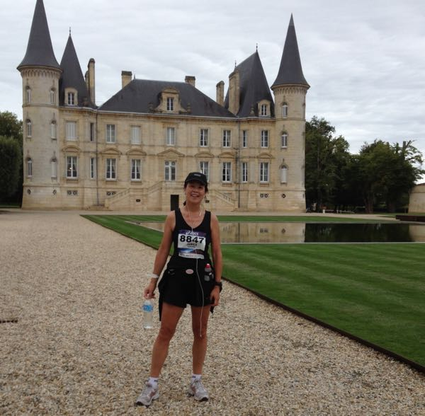 Running in the Marathon du Medoc. Active boomer