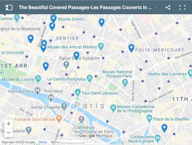 Covered Passages in Paris Map