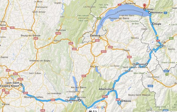 Route: Lyon to Switzerland via French Alps