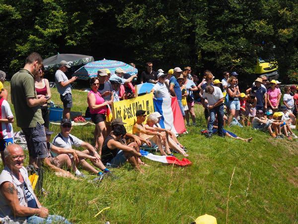Crowds in Nurieux France. Tour de France