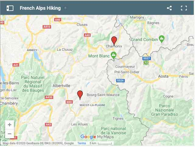 Hiking Locations in French Alps Map
