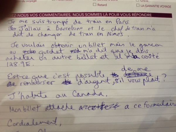 Lesson learned: My letter to SNCF (French rail).