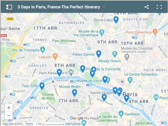 Map of 3 Days In Paris-Perfect Itinerary