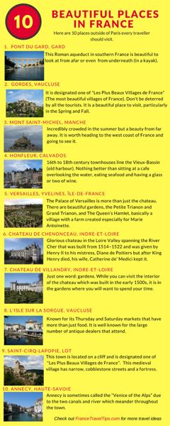 Infographic: 10 Beautiful Places In France Created by: Janice Chung