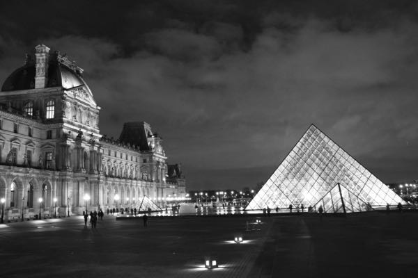 Pyramid at the Louvre Museum at night