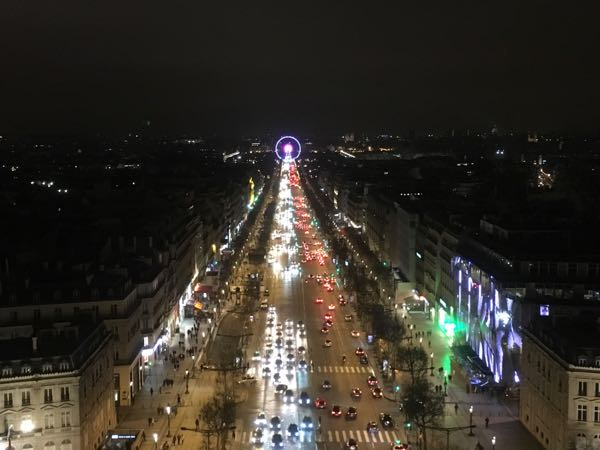 View of the Champs Elysee from the Arc de Triomphe at night