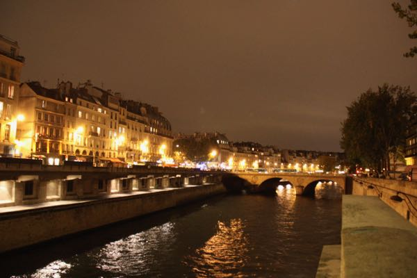 Seine River at night in Paris, France