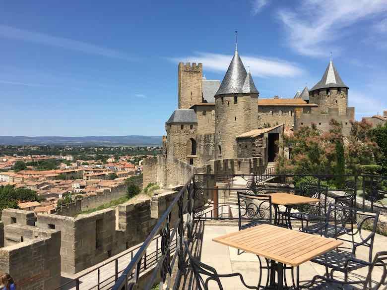 Terrace at La Barbacane, Carcassonne (J. Chung)