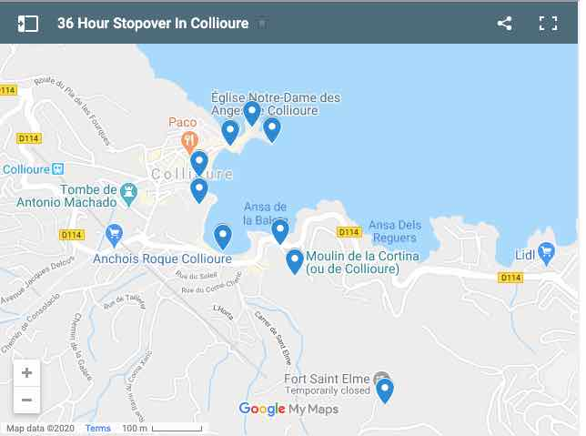 36 Hour Stopover In Collioure Map