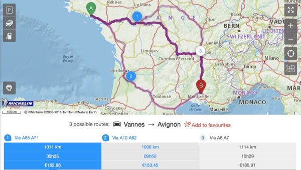 Road trip in France: Michelin Route Planner
