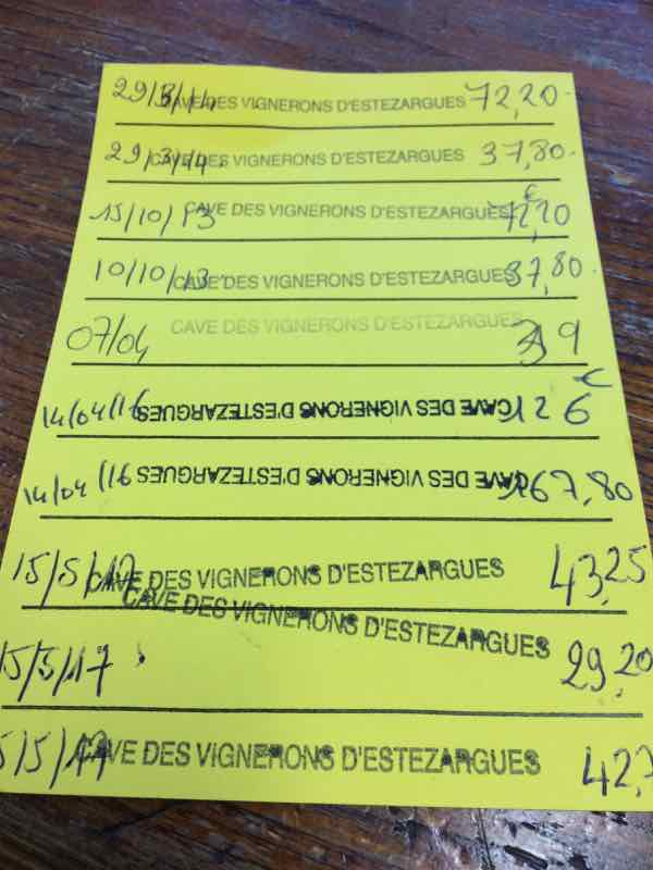 My frequent buyer card to buy the best value wine in France