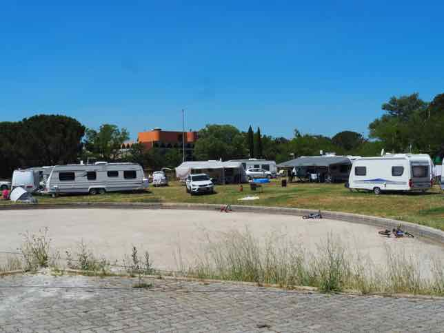 Campground in front of the Fondation Vasarely in Aix-en-Provence