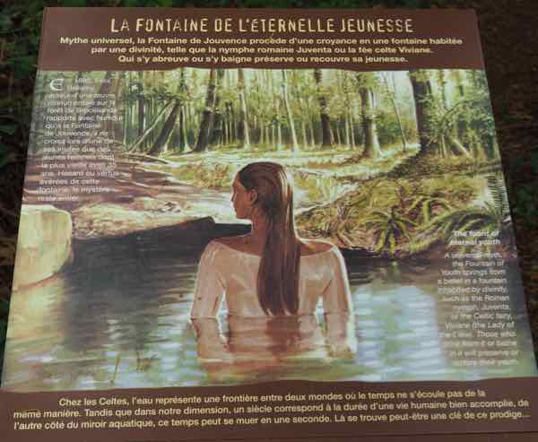 Fountain of Youth sign at Broceliande