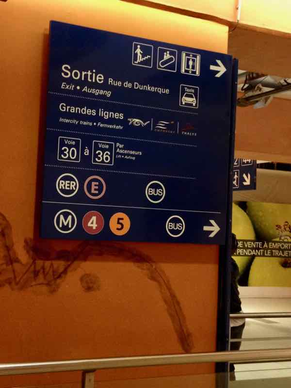 Sign at Gare du Nord, Paris France. J Chung