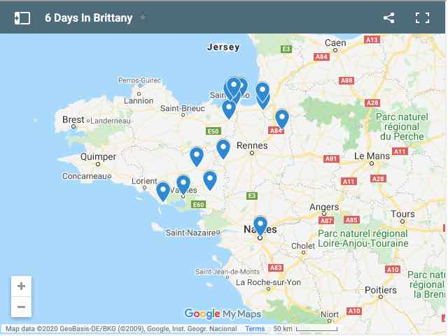 6 Days In Brittany Map of Sites