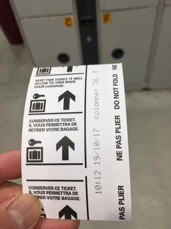 Luggage locker ticket at Gare du Nord