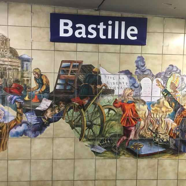 Remains of the Bastille and mural at the Bastille Metro