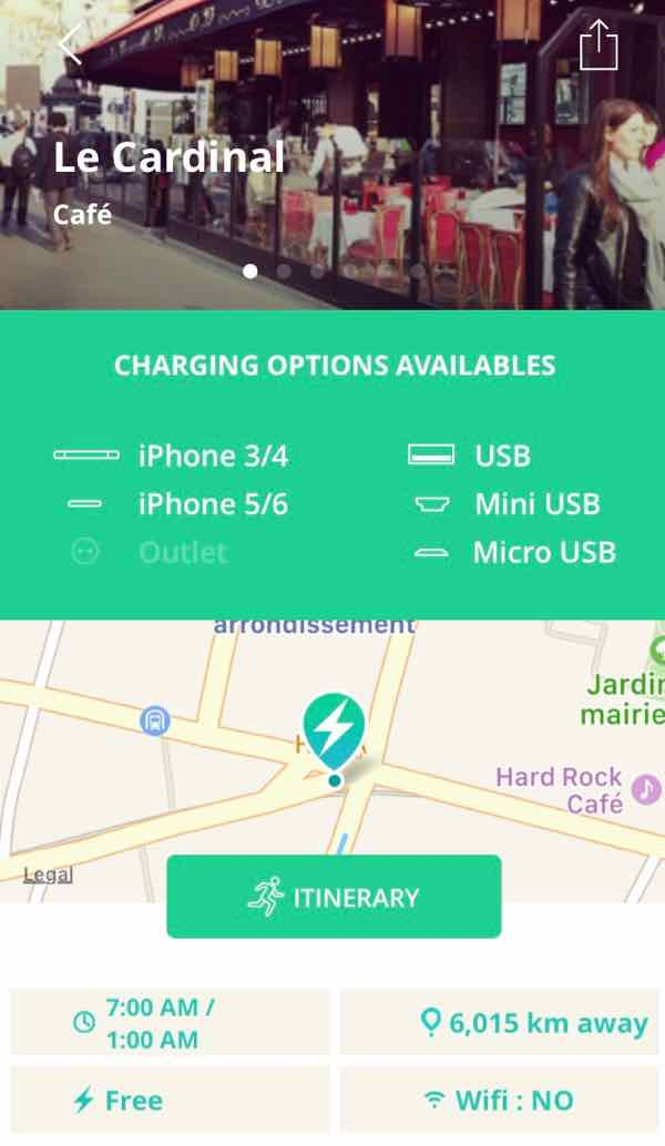 Powize app finds places to charge your phone in Paris.