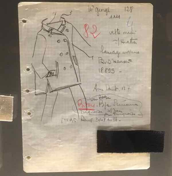 Yves Saint Laurent Museum Pea Jacket Sketch