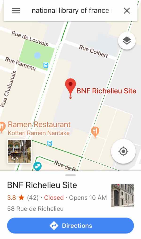 Google map result BNF Richelieu Site