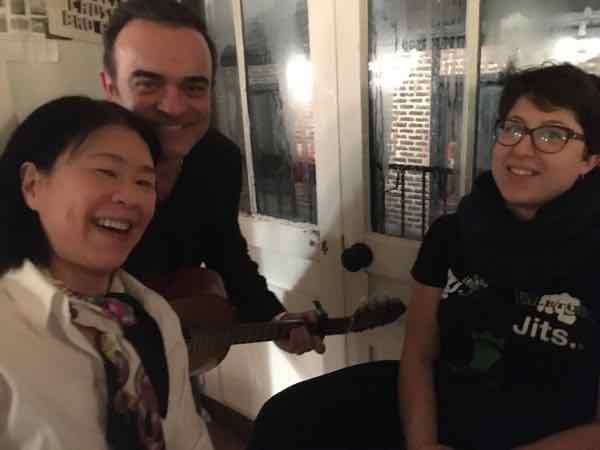 Jan with Pascal Lagrandeur and Chloe at Jim Haynes dinner