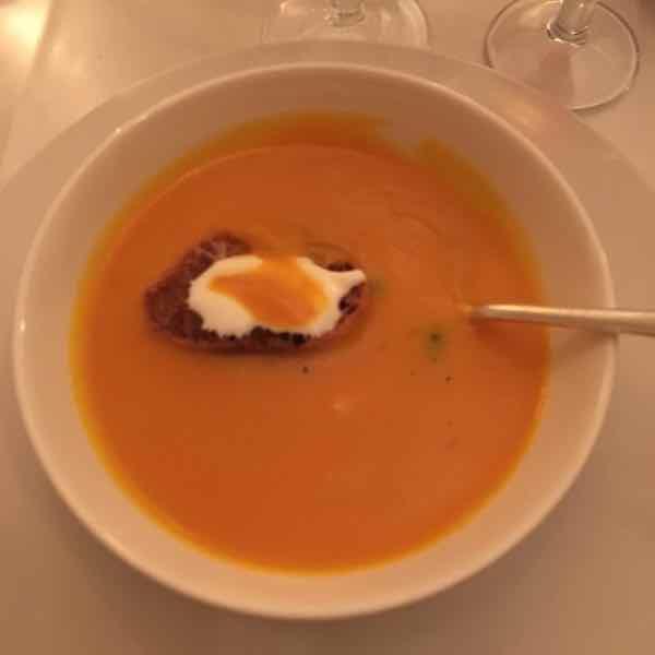 Pumpkin soup with toast and sour cream (A la Biche au Bois)