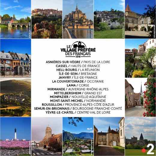 List of villages competing in Le Village Préféré des Francais 2018