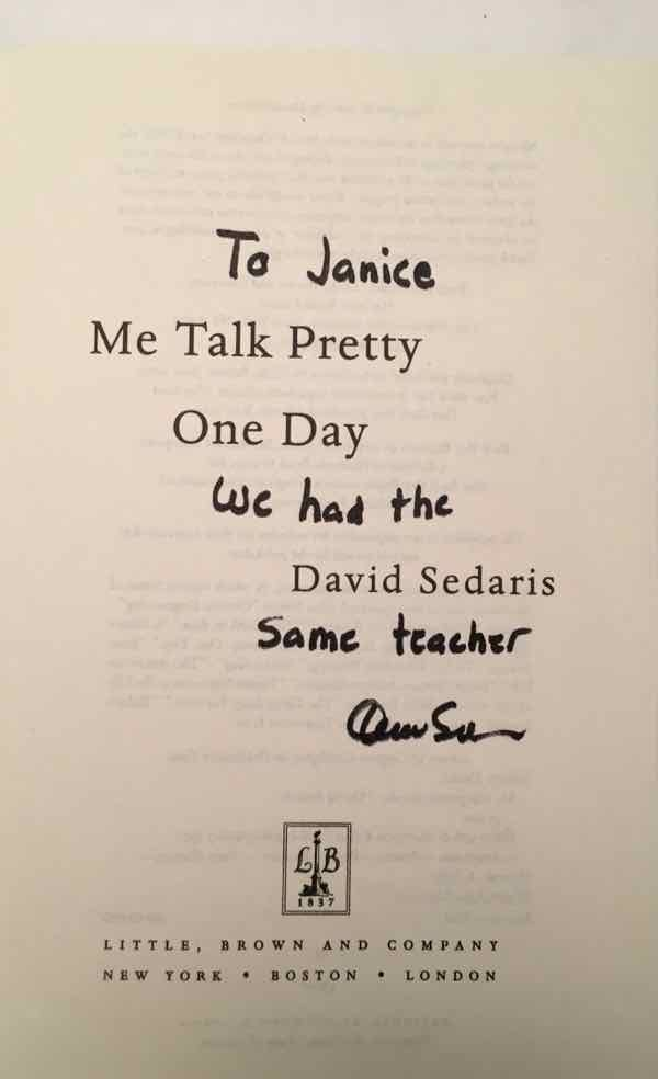 Me Talk Pretty One Day signed by David Sedaris