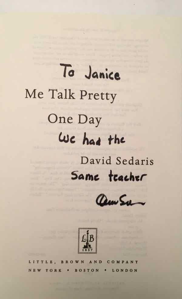 Me Talk Pretty One Day signed by David Sedaris