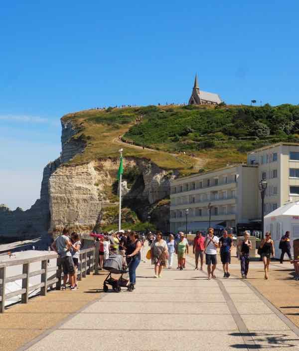Etretat boardwalk and walkway to Chapelle Notre-Dame de la Garde