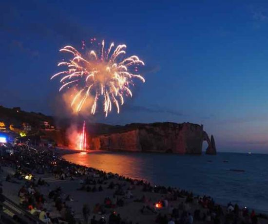 Best Bastille Day fireworks in Normandy- Etretat (J. Chung)
