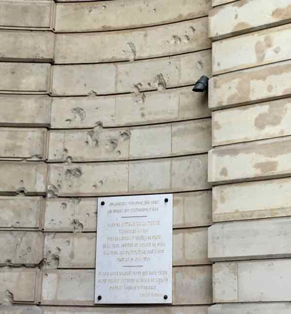 Remaining scars on the building from a German cannon