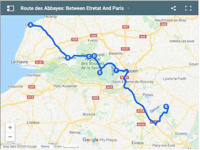 Route des Abbayes Etretat to Paris Map