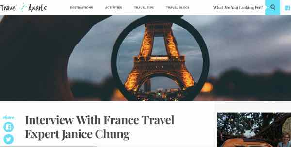 Travel Awaits Interview with France Travel Expert Janice Chung
