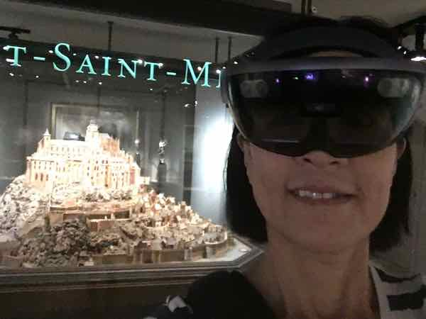 Jan wearing a Hololens headset for augmented reality experience