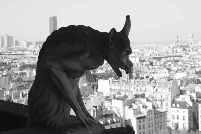 Gargoyle at Notre-Dame Cathedral Paris (J. Chung)