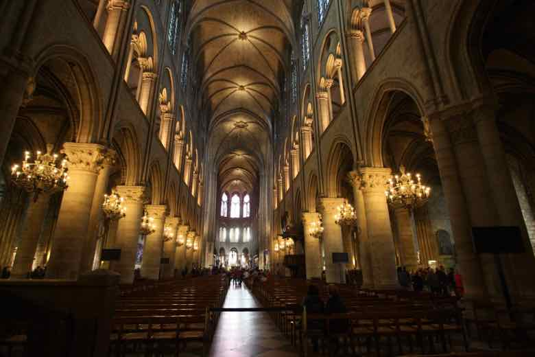 Interior of Notre-Dame Cathedral Paris (J. Chung)
